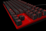 Red Color Strike battle compact mechanical keyboard close up